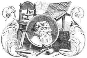 Ilustración acerca de la invención de la imprenta