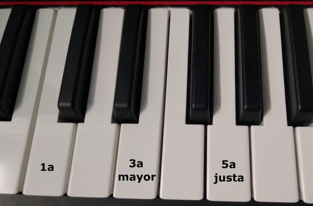Tríada de Do Mayor en piano